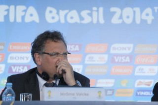 The general secretary of FIFA, Jerome Valcke, during a press conference at the headquarters of the Local Organizing Committee in Rio Centro, west of Rio de Janeiro, southeastern Brazil, on April 25, 2014. Valcke took stock of another visit to the country. Photo: WILTON JUNIOR/ESTADAO CONTEUDO