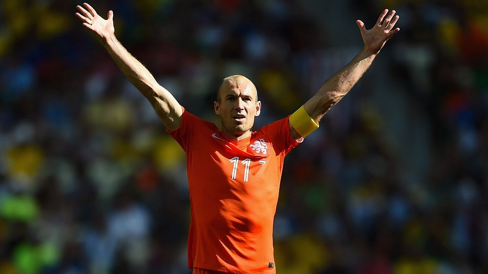 FORTALEZA, BRAZIL - JUNE 29:  Arjen Robben of the Netherlands celebrates after defeating Mexico 2-1 during the 2014 FIFA World Cup Brazil Round of 16 match between Netherlands and Mexico at Castelao on June 29, 2014 in Fortaleza, Brazil.  (Photo by Laurence Griffiths/Getty Images)