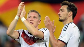 Germany's Bastian Schweinsteiger (L) and Mats Hummels after the international friendly match between Germany and Armenia at Coface Arena in Mainz, Germany, 06 June 2014. Germany won 6-1. Photo: Andreas Gebert/dpa