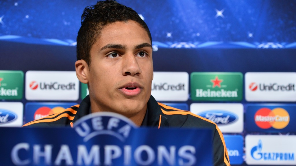 """Real Madrid's  defender Raphael Varane of France gives a press conference on the eve of the UEFA Champions League football match Juventus vs Real Madrid at """"Juventus Stadium"""" in Turin on November 4, 2013. AFP PHOTO / GIUSEPPE CACACE"""