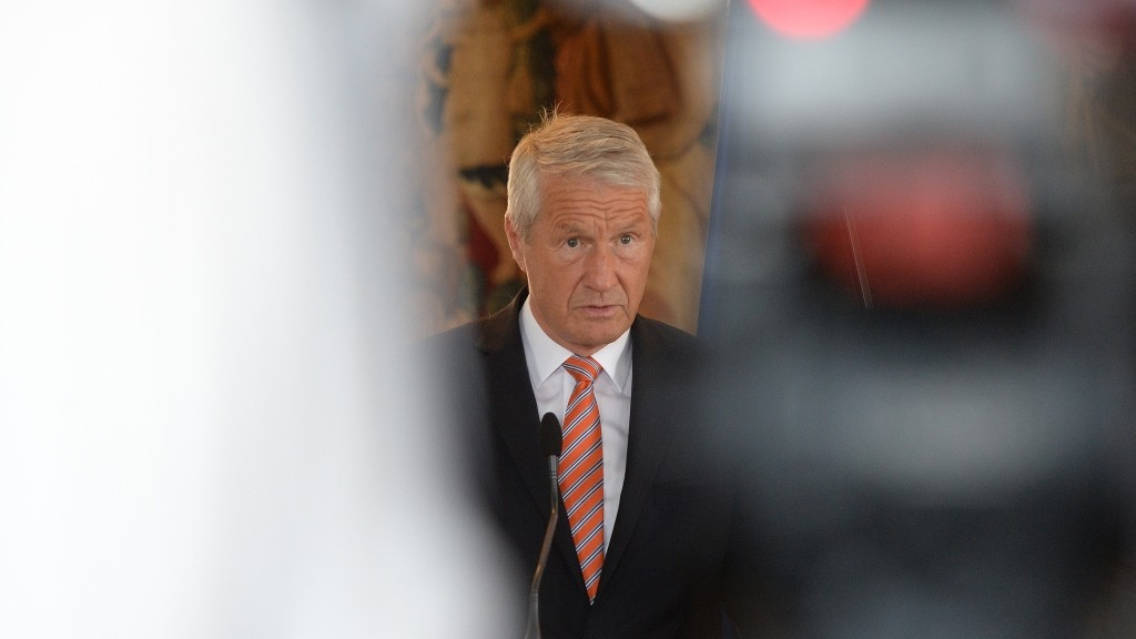 Secretary General of the Council of Europe Thorbjorn Jagland speaks during a press conference with Czech Foreign on June 5, 2015 in Prague . AFP PHOTO / MICHAL CIZEK