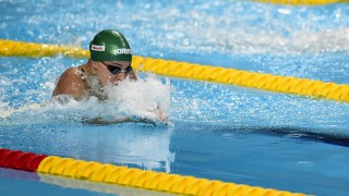 Lithuania's Ruta Meilutyte competes in the semi-finals of the women's 50m breaststroke swimming event at the 2015 FINA World Championships in Kazan on August 8, 2015. AFP PHOTO / MARTIN BUREAU