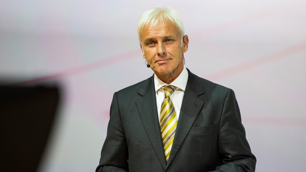 Porsche AG CEO Matthias Muller speaks during Volkswagen night at the Fraport arena prior to the 66th IAA auto show in Frankfurt on September 14, 2015. Volkswagen group showed their latest models  and automotive concepts from the brands Volkswagen, Audi, Bentley, Bugatti, Ducati, Lamborghini, Porsche, Seat and Skoda. Hundreds of thousands of visitors are expected to crowd into the massive exhibition halls of Frankfurt's sprawling trade fair grounds later this week  to catch a glimpse of the latest models and high tech innovations.   AFP PHOTO / ODD ANDERSEN