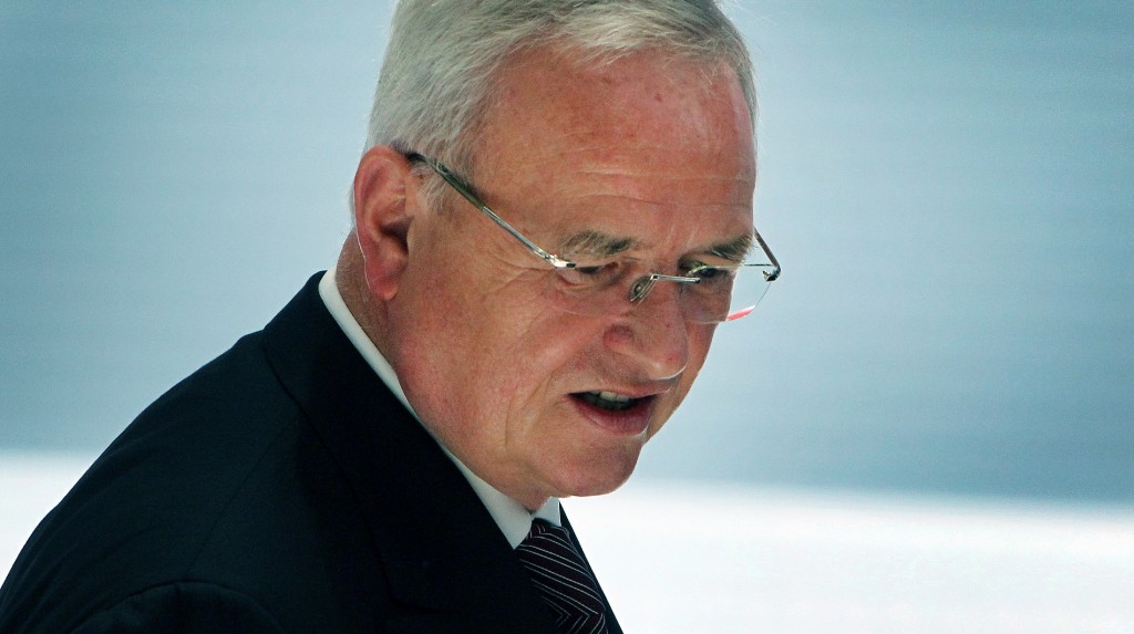 CEO of Volkswagen AG Martin Winterkorn is seen at the VW booth of the 66th IAA auto show in Frankfurt on September 15, 2015. Shares in German auto giant Volkswagen were down around eight percent in early trading on the Frankfurt stock exchange on September 23, 2015 as investors continued to pile out of the stock in the wake of a pollution cheating scandal that has reached global proportions. 