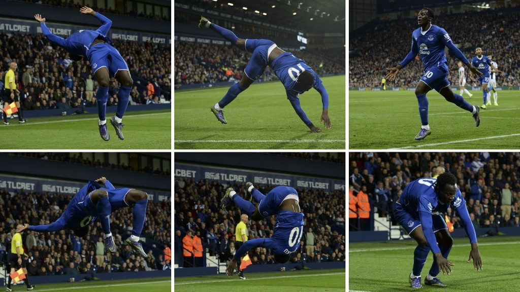 A combination of pictures created on September 28, 2015 (anti-clockwise from top R) shows Everton's Belgian striker Romelu Lukaku doing a flip and backwards somersault as he celebrates scoring Everton's winning goal during the English Premier League football match between West Bromwich Albion and Everton at The Hawthorns in West Bromwich, central England, on September 28, 2015. Everton won 3-2 with Lukaku scoring two goals and having a hand in the other. AFP PHOTO / OLI SCARFF  RESTRICTED TO EDITORIAL USE. No use with unauthorized audio, video, data, fixture lists, club/league logos or 'live' services. Online in-match use limited to 75 images, no video emulation. No use in betting, games or single club/league/player publications.