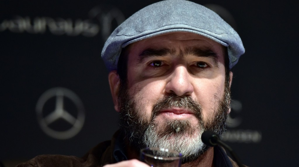 Former French football player turned actor Eric Cantona attends a press conference ahead of the Laureus World Sports Awards in Shanghai on  April 14, 2015.    AFP PHOTO / JOHANNES EISELE