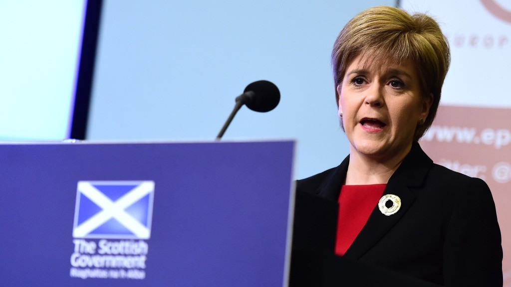 "Scotland's First Minister Nicola Sturgeon addresses a speech on ""Scotland's commitment to Europe"" at an European Policy Centre (EPC) event in Brussels, on June 2, 2015. In her first address as first minister, Sturgeon detailed Scotland's positive European outlook, contributing to the debate on the United Kingdom's future in the European Union. AFP PHOTO / EMMANUEL DUNAND"