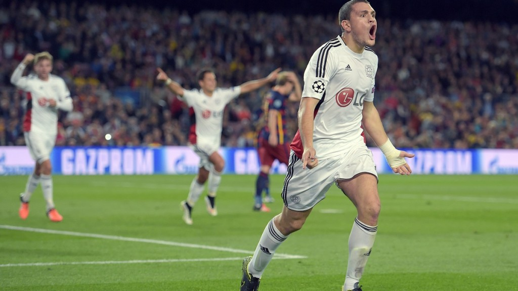 Leverkusen?s Kyriakos Papadopoulos celebrates after scoring the 1:0 during the UEFA Champions League Group E first leg soccer match between FC Barcelona and Bayer 04 Leverkusen at the Camp Nou in Barcelona, Spain, 29 September 2015. Photo: Federico Gambarini/dpa
