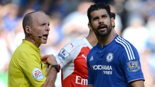 Diego Costa of Chelsea turns away from referee Mike Dean after he was booked during the English championship Premier League football match between Chelsea and Arsenal on september 19, 2015 at Stamford Bridge in London, England. Photo Javier Garcia / Backpage Images / DPPI