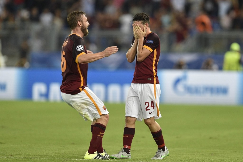 ROME, ITALY - SEPTEMBER 16 : Alessandro Florenzi (24) of AS Roma celebrates after scoring a goal during the UEFA Champions League Group E soccer match between AS Roma and FC Barcelona  at Stadio Olimpico on September 16, 2015 in Rome, Italy. Claudio Pasquazi / Anadolu Agency