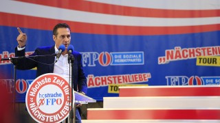 TO GO WITH AFP STORY BY SIMON STURDEEHeinz-Christian Strache candidate of the Freiheitliche Partei Oesterreichs FPO Party (Freedom Party of Austria) delivers a speech during a meeting of the FPO political party in Klagenfurt on September 14, 2013 ahead of the Austrian legislative elections taking place on September 29, 2013. AFP PHOTO / ALEXANDER KLEIN