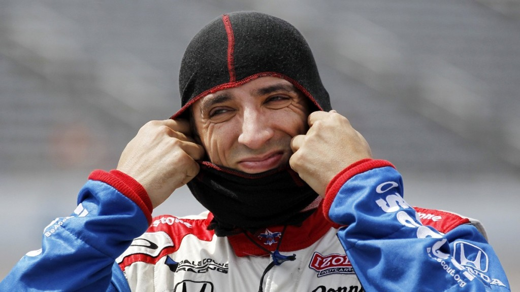 Justin Wilson, of the Dale Coyne Racing Honda, pulls on a drink hood prior to starting his IndyCar qualifying run for the Firestone 550 at Texas Motor Speedway in Fort Worth, Texas, Friday, June 7, 2013. (John Rhodes/Fort Worth Star-Telegram/MCT via Getty Images)