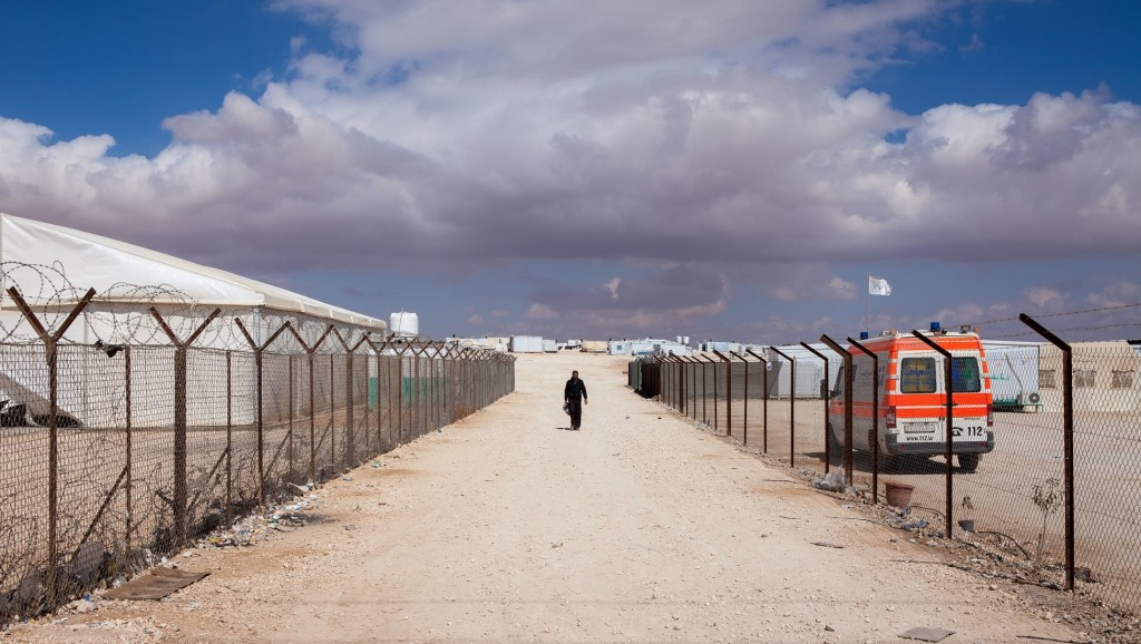 [UNVERIFIED CONTENT] Landscape view of Zaatari Syrian refugee camp in northern Jordan, under a cloudy winter sky.