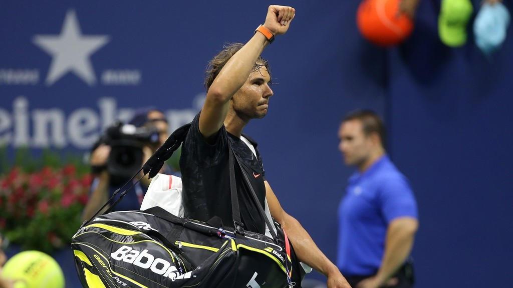 NEW YORK, NY - SEPTEMBER 5: Rafael Nadal of Spain walks off the court after his loss to Fabio Fognini of Italy on day five of the 2015 US Open at USTA Billie Jean King National Tennis Center on September 5, 2015 in the Flushing neighborhood of the Queens borough of New York City. (Photo by Jean Catuffe/Getty Images)