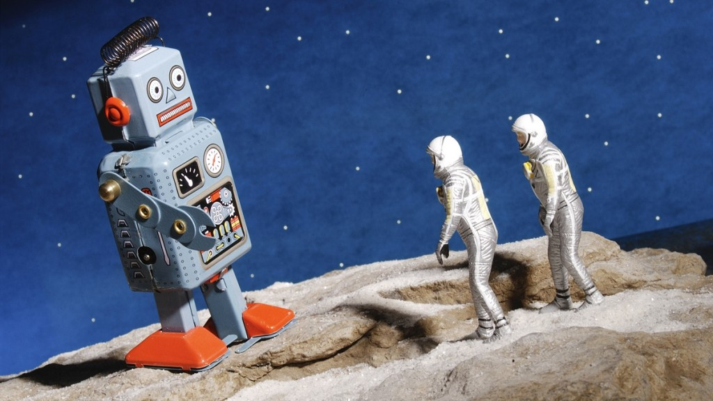 Astronaut figurines and giant robot toy