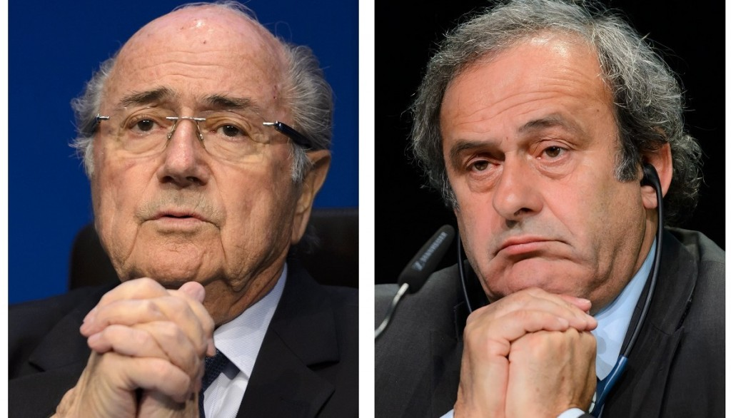 A combination made on October 8, 2015 shows four pictures showing (LtoR, from upper row) Fifa president president Sepp Blatter on May 30, 2015 in Zurich, UEFA leader Michel Platini on May 28, 2015 in Zurich, South Korean FIFA Honorary Vice President Chung Mong-Joon  August 17, 2015 in Paris and FIFA secretary general Jerome Valcke on May 30, 2015 in Zurich.  FIFA's ethics watchdog on October 8, 2015 suspended world body president Sepp Blatter and UEFA leader Michel Platini for 90 days after they were named in a Swiss corruption case. The independent ethics committee also banned South Korean tycoon, Chung Mong-Joon, like Platini a candidate for the FIFA presidency for six years. FIFA secretary general Jerome Valcke, already ordered to leave by FIFA over a separate ticketing scandal, was suspended for 90 days. AFP PHOTO / STEPHANE DE SAKUTIN