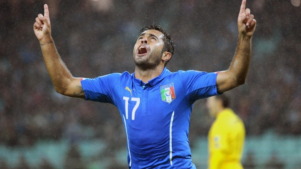 Italy's forward Eder celebrates after scoring a goal during the Euro 2016 group H qualifying football match between Azerbaijan and Italy on October 10, 2015 in Baku. AFP PHOTO / TOFIK BABAYEV
