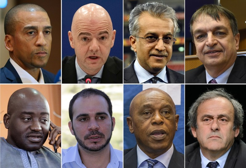 (COMBO) A combination of file pictures made on October 26, 2015 shows (from top L) former Trinidad and Tobago's football player David Nakhid on September 28, 2015, UEFA secretary general Gianni Infantino on March 23, 2015, AFC President Shaikh Salman bin Ebrahim Al Khalifa on January 30, 2015, Former FIFA deputy general secretary Jerome Champagne on January 21, 2015, Liberia FA chairman Musa Bility on June 19, 2015, FIFA vice president for Asia Prince Ali bin al-Hussein of Jordan on April 28, 2012, Chairman of the FIFA monitoring committee for Israel and Palestine, Tokyo Sexwale, on October 2, 2015 and UEFA President Michel Platini on May 28, 2015. Prince Ali Bin Al Hussein, Michel Platini, Jerome Champagne, David Nakhid, Tokyo Sexwale, Shaikh Salman Bin Brahim Al Khalifa, Gianni Infantino and Musa Bility are official candidates for the FIFA presidency as the deadline for submitting the formal bids is Midnight UTC on October 26.  AFP PHOTO / JOE KLAMAR / SAEED KHAN / JOHN THYS / ZOOM DOSSO / KHALIL MAZRAAWI / JACK GUEZ / FABRICE COFFRINI