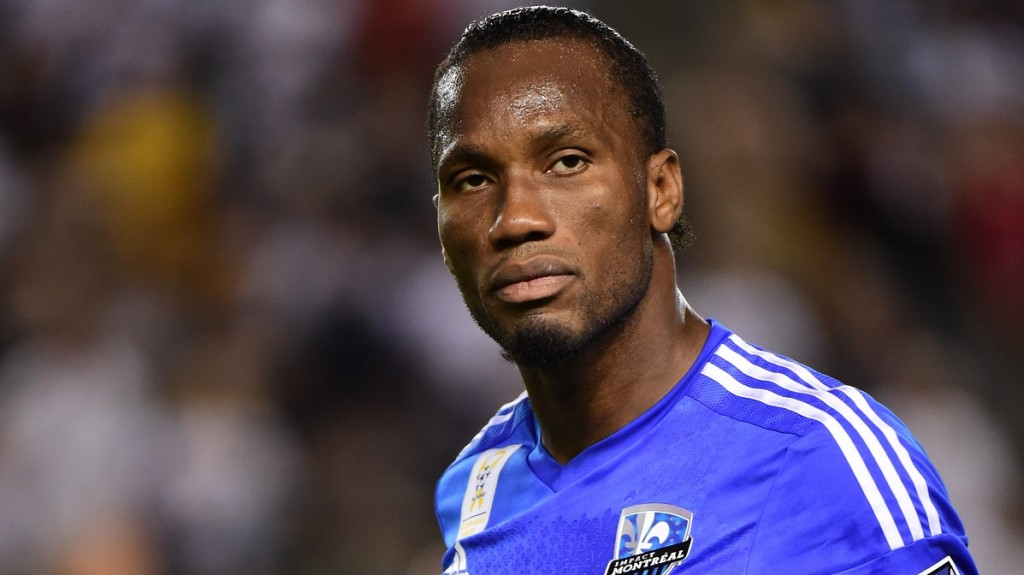 Didier Drogba of the Montreal Impact looks on prior to kickoff against the LA Galaxy in their MLS match on September 12, 2015 in Carson, California which ended 0-0. AFP PHOTO /FREDERIC J.BROWN