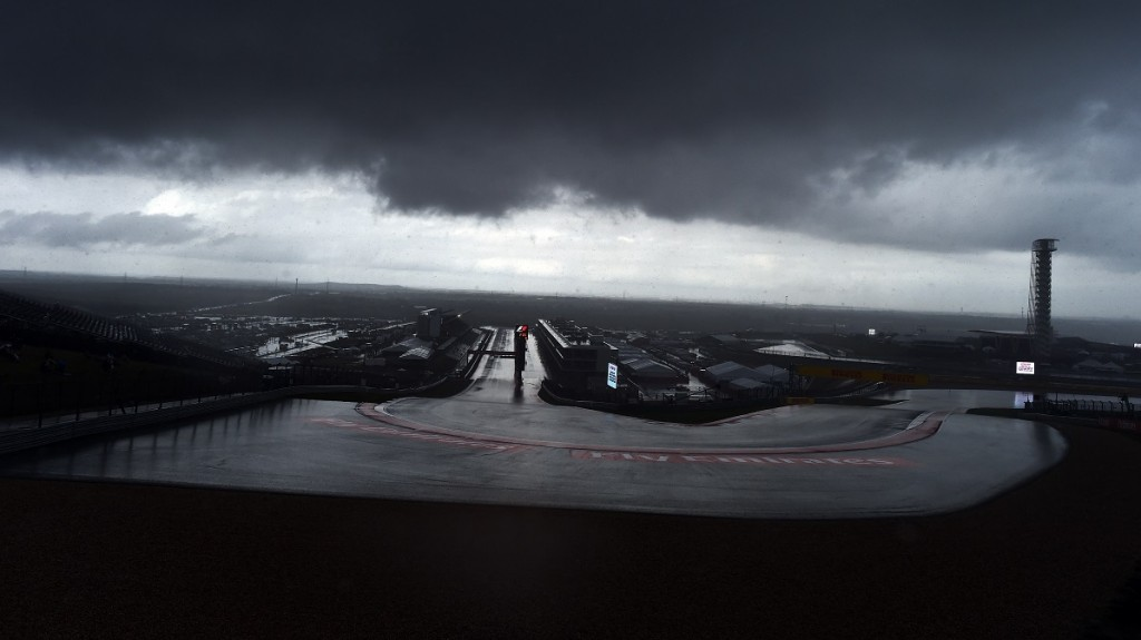 Storm clouds hover over the Circuit of The Americas in Austin, Texas, as a heavy downpour postponed the second practice session ahead of the US Formula One Grand Prix on October 23, 2015. AFP PHOTO/JEWEL SAMAD