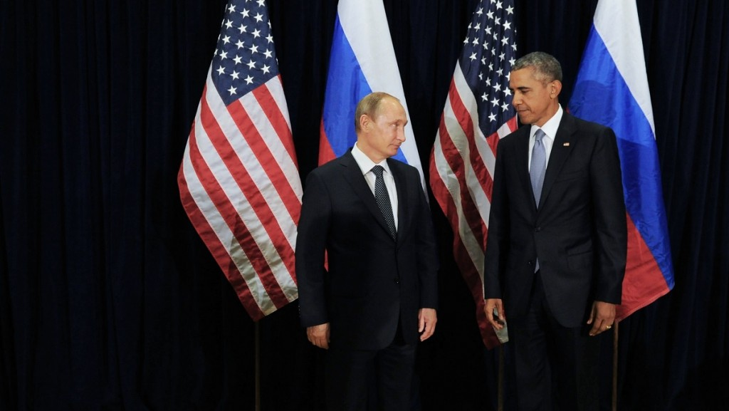 2708003 09/29/2015 September 28, 2015. Russian President Vladimir Putin, left, meets with US President Barack Obama, right, during the 70th UN General Assembly session in New York City. Michael Klimentyev/RIA Novosti