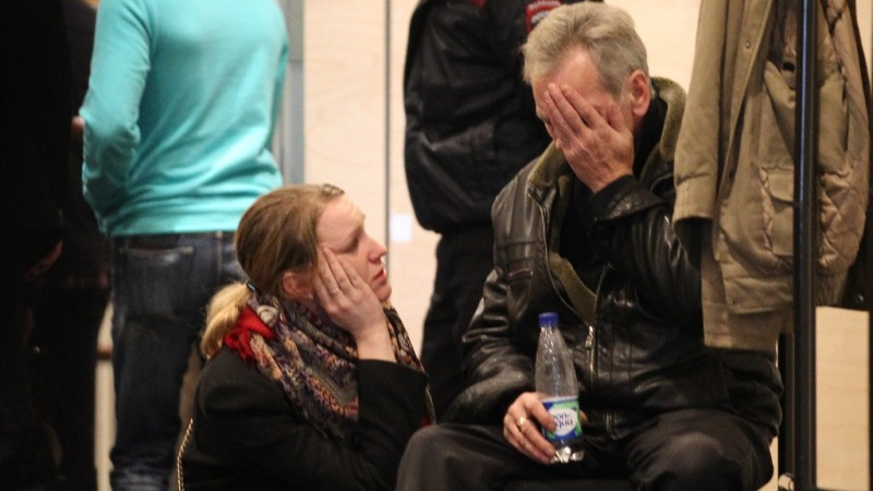2729832 10/31/2015 Families of Flight 9268 passengers are at Pulkovo airport, the destination of the Kogalymavia Airlines Airbus A321 which crashed en route from Sharm el-Sheikh to St.Petersburg. Igor Russak/RIA Novosti