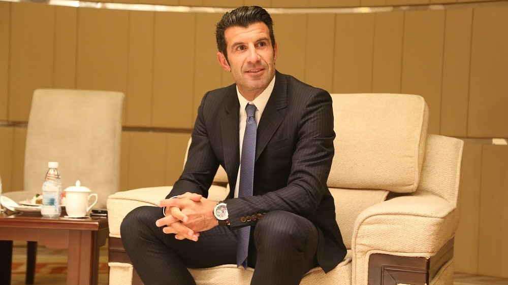 Portuguese football star Luis Figo attends the Seminar of International Youth Football Development Panda Cup 2015 in Chengdu city, southwest China's Sichuan province, 27 June 2015.