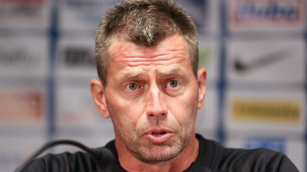 20140827 - BRUGGE, BELGIUM: Zurich's head coach Michael Skibbe pictured during a press conference of Swiss team Grasshoppers Zurich, Wednesday 27 August 2014, in Brugge. Tomorrow Club Brugge is playing Belgian first division soccer team Club Brugge in the return leg match of the playoffs for the UEFA Europa League competition. Club Brugge won 1-2 the first leg in Switzerland. BELGA PHOTO BRUNO FAHY