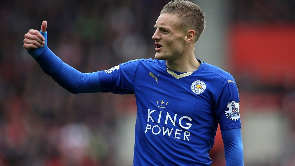 Jamie Vardy of Leicester during the English championship Premier League football match between Southampton and Leicester City on October 17th 2015 played at St Mary's Stadium in Southampton, England. Photo James Marsh / Backpage Images / DPPI