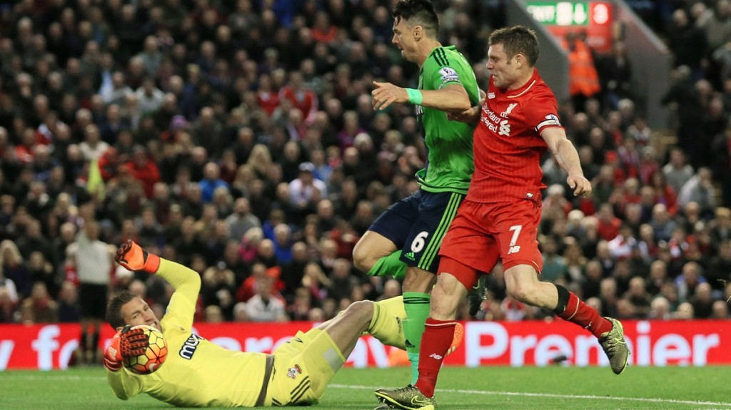 Southampton?s Maarten Stekelenburg saves from Liverpool's James Milner during the English championship Premier League football match between Liverpool and Southampton on October 25th 2015 played at Anfield stadium in Liverpool, England. Photo Paul Currie / Backpage Images / DPPI