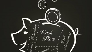 Piggy Bank Cuts with Money Savings Financial concept on Chalkboa