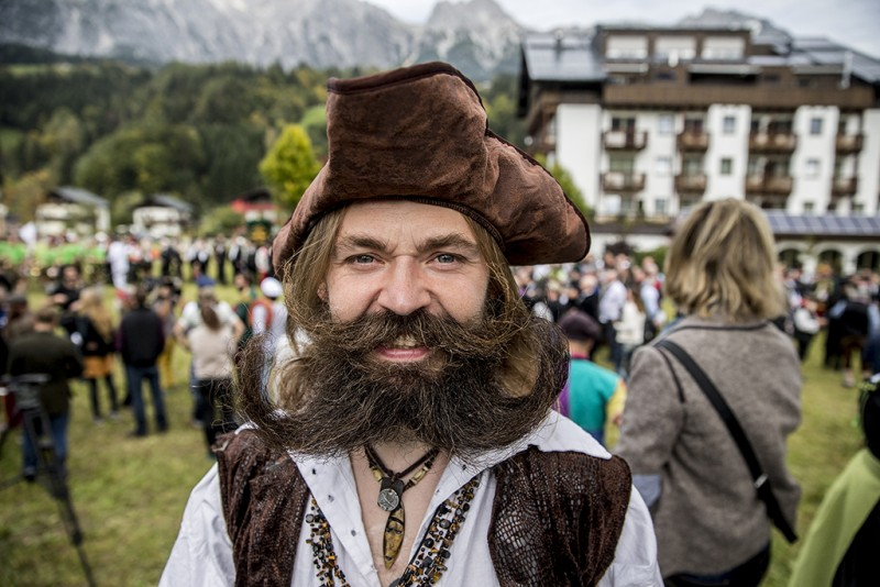 LEOGANG, AUSTRIA - OCTOBER 3: A contestant of the World Beard And Mustache Championships poses for a picture during the opening ceremony of the Championchips 2015 on October 3, 2015 in Leogang, Austria. Over 300 contestants in teams from across the globe have come to compete in sixteen different categories in three groups: mustache, partial beard and full beard. The event takes place every few years at different locations worldwide. (Photo by Jan Hetfleisch/Getty Images)