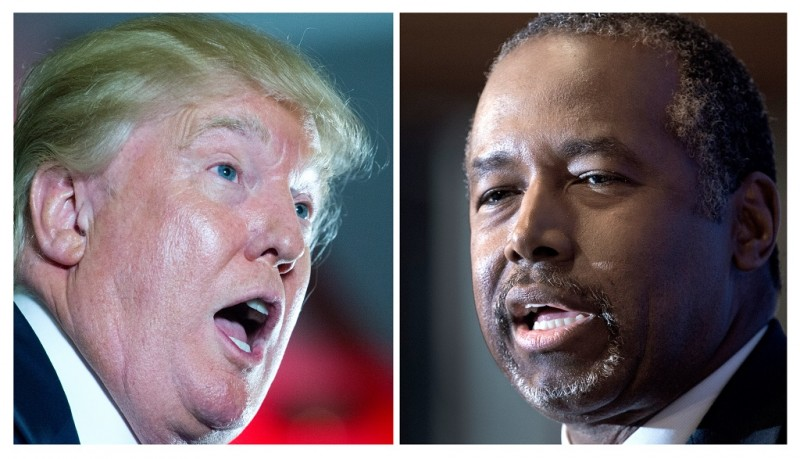 This combination of file photos shows Republican presidential candidates Donald Trump(L) delivering remarks at the Maryland Republican Party's 25th Annual Red, White & Blue Dinner on June 23, 2015 and Ben Carson speaking on October 9, 2015 at the National Press Club. Ben Carson has edged ahead of Donald Trump nationally in the US battle for the Republican presidential nomination, a new poll showed on October 27, 2015, the latest sign of slippage for the brash billionaire. The results mark the first time Trump has been dislodged from the top of the broad Republican field in months, and reflect continued preference for outsider candidates more than 13 months before the 2016 presidential election. The New York Times/CBS News survey show Carson, a retired pediatric neurosurgeon who has never held public office, is the presidential pick of 26 percent of respondents, compared with 22 percent for Trump, although the difference lies within the margin of error of six percentage points.  AFP PHOTO