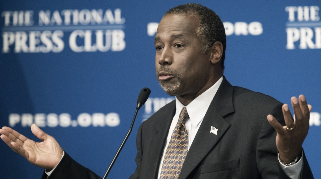 """Republican presidential candidate Ben Carson delivers discusses his new book, titled, """"A More Perfect Union: What We the People Can Do To Reclaim Our Constitutional Liberties"""" on October 9, 2015 at the National Press Club in Washington, DC.     AFP Photo/PAUL J. RICHARDS"""