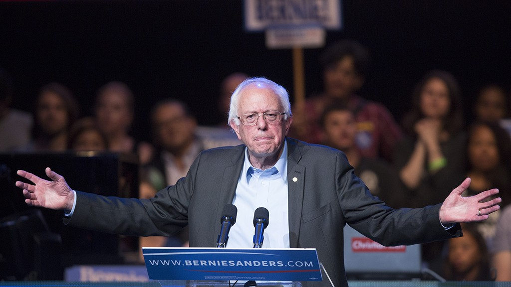 LOS ANGELES, CA - OCTOBER 14:  Democratic presidential candidate U.S. Sen. Bernie Sanders speaks at a campaign fundraising reception at the Avalon Hollywood nightclub on October 14, 2015 in the Hollywood section of Los Angeles, California. The fundraiser takes place on the day following the first Democratic presidential debate of the race, where Sanders faced off with frontrunner, Hillary Rodham Clinton, and three other candidates.   (Photo by David McNew/Getty Images)