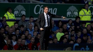 Liverpool's Northern Irish manager  Brendan Rodgers gestures during the English Premier League football match between Everton and Liverpool at Goodison Park in Liverpool north west England on October 4, 2015. Rogers parted company with the club following the match against Everton.     AFP PHOTO / OLI SCARFF  RESTRICTED TO EDITORIAL USE. No use with unauthorized audio, video, data, fixture lists, club/league logos or 'live' services. Online in-match use limited to 75 images, no video emulation. No use in betting, games or single club/league/player publications.