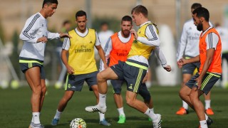 MADRID, SPAIN - OCTOBER 16: ... of Real Madrid ... during a training session at Valdebebas training ground on October 16, 2015 in Madrid, Spain. (Photo by Angel Martinez/Real Madrid via Getty Images)