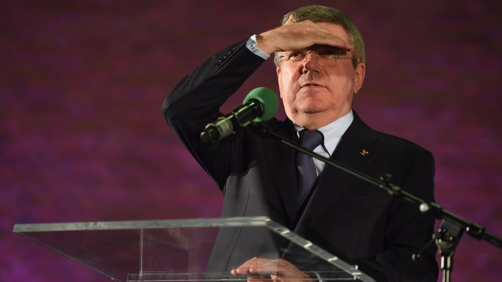Thomas Bach, president of the International Olympic Committee (IOC), is seen on the stage at Christuskirche on March 10, 2015 in Bochum, Germany.