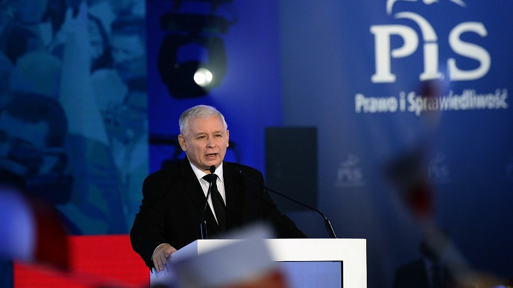Jaroslaw Kaczynski leader of the opposition Law and Justice party in this weekend's general elections speaks at a party convention in Warsaw on October 22, 2015. Opinion polls show Law and Justice slightly ahead of the ruling pro-business Civic Platform party. AFP PHOTO/JANEK SKARZYNSKI