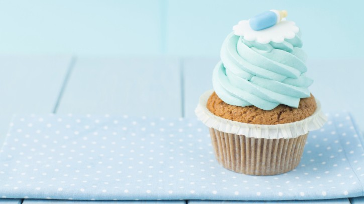 cupcake with blue icing for baby party
