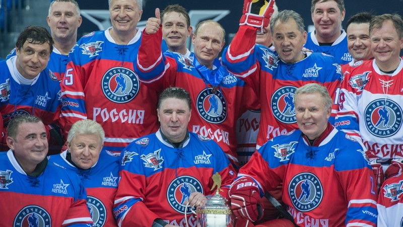 2713755 10/07/2015 Russian President Vladimir Putin, 2nd row center, after the match between Team Night Hockey League Champions and Team Night Hockey League Board Members and Honorary Guests, October 7, 2015. 2nd row, from left: Volga Region Conference curator Valery Kamensky, Far East Conference curator Alexander Mogilny, Night Hockey League president Alexander Yakushev, Moscow Conference curator Pavel Bure. 1st row, from right: Musician Igor Butman, Moscow Region Governor Andrei Vorobyov, Night Hockey League's Moscow Conference curator Alexander Kozhevnikov, Russian Defense Minister Sergei Shoigu. 1st row, from left: Night Hockey League guardian council Alexei Dyumin, Siberia Conference curator Vladimir Myshkin, St. Petersburg Conference curator Alexei Kasatonov, and Night Hockey League CEO Vyacheslav Fetisov. Sergey Guneev/RIA Novosti
