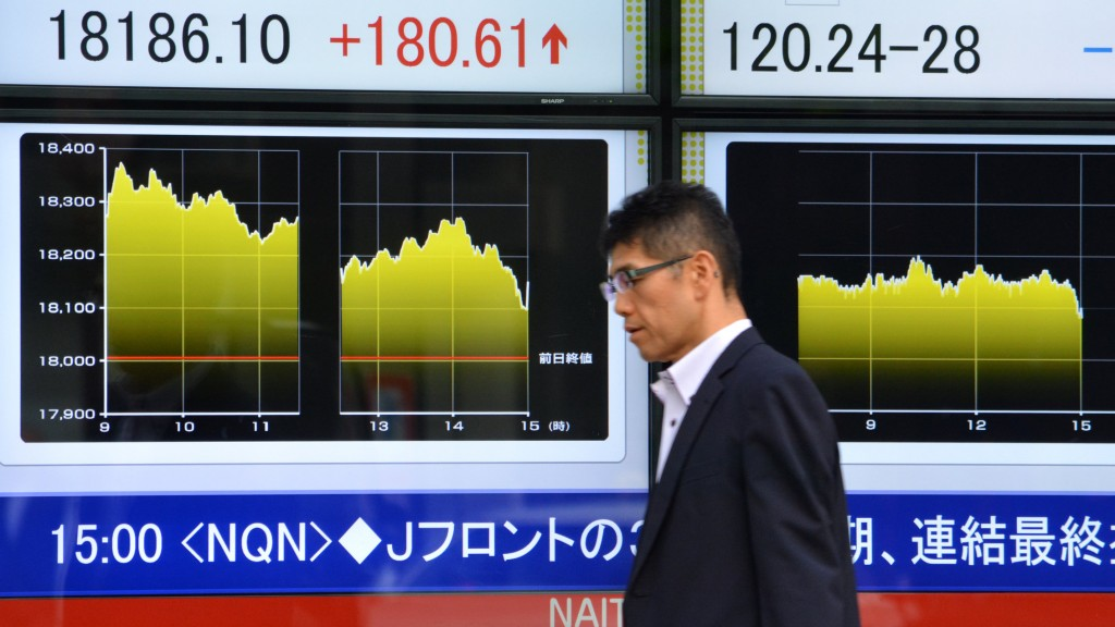 Pedestrians walk past a share prices board (L) of the Nikkei 225 at the Tokyo Stock Exchange and a foreign exchange board against the US dollar (R) in Tokyo on October 6, 2015. Tokyo stocks ended up 1.0 percent October 6 following rallies on Wall Street and after a dozen Pacific Rim nations, including Japan and the US, sealed a deal on creating the world's largest free-trade area.  AFP PHOTO / KAZUHIRO NOGI