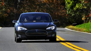 BETHESDA, MD- OCT 10: The Tesla Model S P90D is an all-electric car that broke the Consumers Report rating system with a 103/100 rating. (Photo by Michael S. Williamson/The Washington Post via Getty Images)