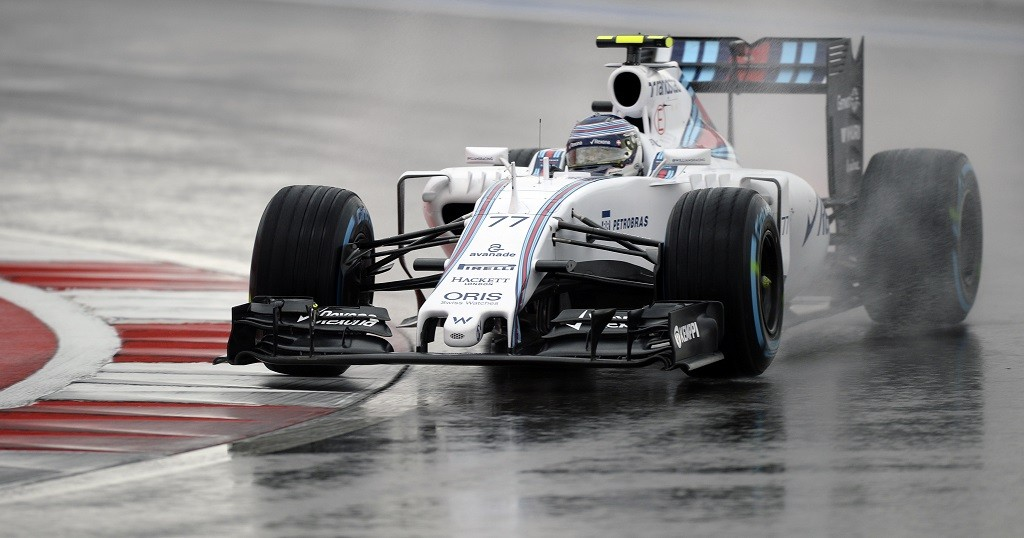 Williams Martini Racing's Finnish driver Valtteri Bottas drives his car during the second practice session of the Russian Formula One Grand Prix at the Sochi Autodrom circuit on October 9, 2015. AFP PHOTO / ALEXANDER NEMENOV