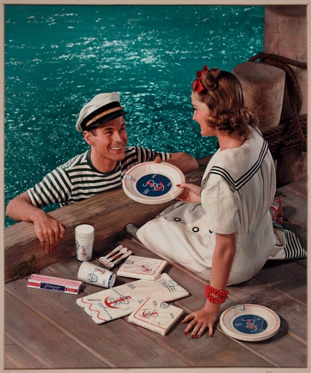 PAPER PLATE AD, COUPLE AT DOCK,
