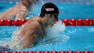 Germany's Marco Koch competes in the final of the men's 200m breaststroke swimming event at the 2015 FINA World Championships in Kazan on August 7, 2015.   AFP PHOTO / CHRISTOPHE SIMON / AFP / CHRISTOPHE SIMON
