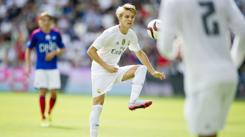 Real Madrid's Martin Odegaard during a friendly match between Valerenga IF and Real Madrid at Ullevaal Stadium in Oslo, Norway on August 9, 2015. AFP PHOTO /  NTB SCANPIX / Vegard Wivestad Groett  +++NORWAY OUT