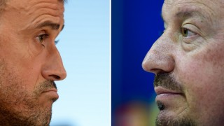 """This combination of two images shows (L to R) Barcelona's coach Luis Enrique grimacing during a press conference at the Sports Center FC Barcelona Joan Gamper in Sant Joan Despi, near Barcelona on August 16, 2015 and Real Madrid's coach Rafael Benitez looking on during a press conference at Valdebebas sport city in Madrid on November 2, 2015. Political antagonism, economic, fervor around the world ... The """"Clasico"""" between Real Madrid and FC Barcelona, which celebrates its 231st edition next Saturday, ceased to be a mere sporting rivalry to overflow widely off the field of play. AFP PHOTO/ JOSEP LAGO / PIERRE-PHILIPPE MARCOU / AFP / AFP"""
