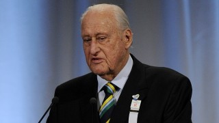 Former FIFA president Brazilian Joao Havelange presents Rio's bid for the 2016 Olympics, on October 2, 2009 in Copenhagen. The International Olympic Committee (IOC) will vote on the destiny of the 2016 Summer Olympic Games after a final round battle.  AFP PHOTO / OLIVIER MORIN / AFP / OLIVIER MORIN