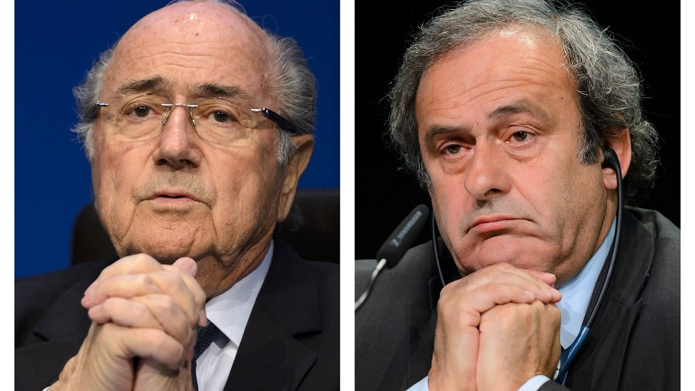 A combination made on October 29, 2015 shows two pictures showing Fifa president president Sepp Blatter (L) on May 30, 2015 in Zurich, and UEFA leader Michel Platini on May 28, 2015 in Zurich. European football supremo Michel Platini insisted on October 29, 2015, that he remains the best man to lead scandal-hit FIFA despite currently being suspended from the sport.  AFP PHOTO / STEPHANE DE SAKUTIN / AFP / STF